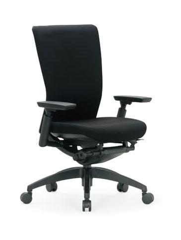 R-5515チェア 【 ミドルバック 】 【 可動肘付 】 【 背張り付タイプ 】 【 樹脂脚 】 【 防汚布張り 黒色 】 事務用回転椅子 オフィスチェア ビジネスチェア パソコンチェア OAチェア PCチェア デスクチェア 高級チェア