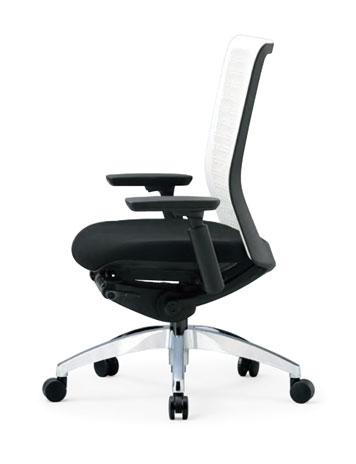 R-5635チェア メッシュチェア 【 ミドルバック 】 【 可動肘 肘付き 】 【 アルミ脚 】 【 背樹脂メッシュ + 座面 防汚布張り 黒色 】 事務用回転椅子 オフィスチェア パソコンチェア OAチェア PCチェア デスク用チェア 高級チェア ビジネスチェア