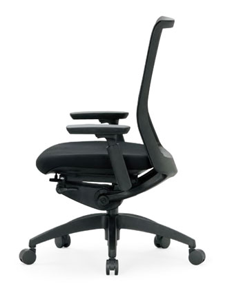 R-5615チェア メッシュチェア 【 ミドルバック 】 【 可動肘 肘付き 】 【 樹脂脚 】 【 背樹脂メッシュ + 座面 防汚布張り 黒色 】 事務用回転椅子 オフィスチェア パソコンチェア OAチェア PCチェア デスク用チェア 高級チェア ビジネスチェア