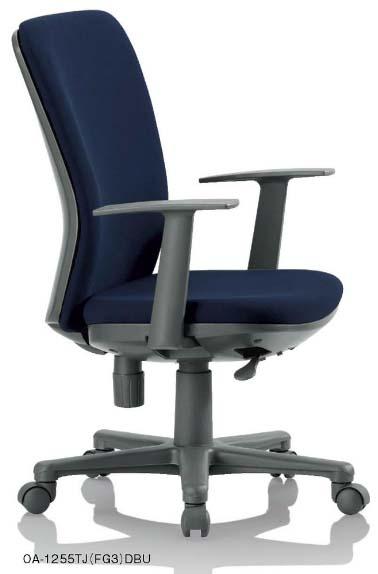 【 法人様限定 】 OA-1255TJ チェアー 【 ミドルバック 】 【 T型肘 固定肘 肘付き 】 【 樹脂脚 】 【 布張り or ビニール張り 選べる張り地カラー 全11色 】 【 法人格限定 】 事務用回転椅子 アイコチェア