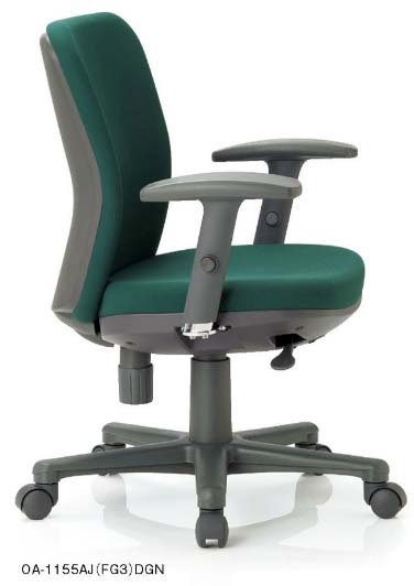 【 法人様限定 】 OA-1155AJ チェアー 【 ローバック 】 【 可動肘 肘付き 】 【 樹脂脚 】 【 布張り or ビニール張り 選べる張り地カラー 全11色 】 【 法人格限定 】 事務用回転椅子 アイコチェア