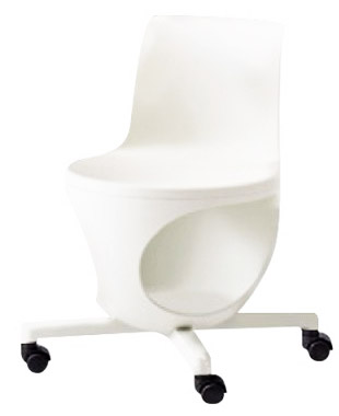 e-chair[イーチェア][テーブルなし][パッドなし][ホワイトシェル][ナイロンキャスター][座面下荷物置き付][背手掛付][コンパクト設計]会議室,オフィス,SOHO,事務所,セミナールーム,教室,工場,病院,医療,福祉施設,公共施設,学校,学習塾向け(9314AB-GD14)