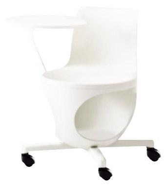 e-chair[イーチェア][テーブル付][パッドなし][ホワイトシェル][ゴムキャスター][座面下荷物置き付][背手掛付][コンパクト設計][受注生産]会議室,オフィス,SOHO,事務所,セミナールーム,病院,医療,福祉施設,公共施設,学校m学習塾向け(9314KD-GD15)