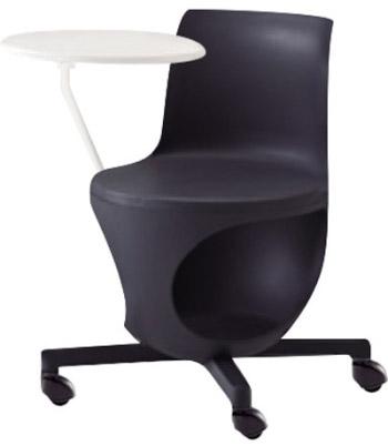 e-chair[イーチェア][テーブル付][パッドなし][ダークグレーシェル][ゴムキャスター][座面下荷物置き付][背手掛付][コンパクト設計][受注生産]会議室,オフィス,SOHO,事務所,セミナールーム,病院,医療,福祉施設,公共施設,学校m学習塾向け(9314KD-GD15)