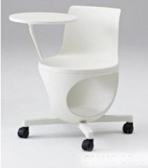e-chair[イーチェア][テーブル付][パッドなし][ホワイトシェル][ゴムキャスター][座面下荷物置き付][背手掛付][コンパクト設計][受注生産]会議室,オフィス,SOHO,事務所,セミナールーム,病院,医療,福祉施設,公共施設,学校m学習塾向け(9314JB-GD14)