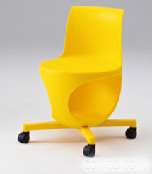 e-chair[イーチェア][テーブルなし][パッドなし][イエローシェル][ゴムキャスター][座面下荷物置き付][背手掛付][コンパクト設計][受注生産]会議室,オフィス,SOHO,事務所,セミナールーム,病院,医療,福祉施設,公共施設,学校,学習塾向け(9314LB-GD16)