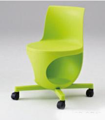 e-chair[イーチェア][テーブルなし][パッドなし][グリーンシェル][ゴムキャスター][座面下荷物置き付][背手掛付][コンパクト設計][受注生産]会議室,オフィス,SOHO,事務所,セミナールーム,病院,医療,福祉施設,公共施設,学校,学習塾向け(9314MB-GD17)