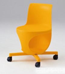 e-chair[イーチェア][テーブルなし][パッドなし][オレンジシェル][ナイロンキャスター][座面下荷物置き付][背手掛付][コンパクト設計]会議室,オフィス,SOHO,事務所,セミナールーム,教室,工場,病院,医療,福祉施設,公共施設,学校,学習塾向け(9314FB-GD19)