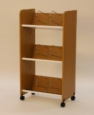 PB-H ノンスリップウッドワゴン 3段型[ホワイト/ナチュラルウッド色][木製][棚板:スチール][キャスター付き][ブックエンド6個付][W555×D375×H1030mm]【お客様組立】各種デスク用オプション