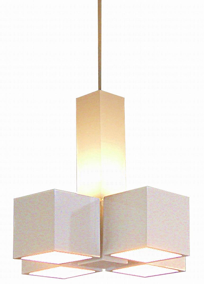 LED照明 ペンダント型 P4034LE-W 【 CUBE-LED キューブ 】 【 E17 LED電球 3.7W×4 電球色 】 【 ホワイト色 】 【 H310×W300×D308 】 【 引掛シーリング・コードハンガー付 】 【 省エネ 】  dcs デザイン照明