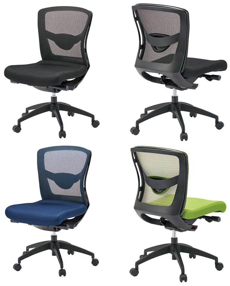 PLUS JOINTEX 事務イス FN-L8M 1脚分 【 ローバック 】 【 肘なし 】 【 ランバーサポート付き 】 【 背メッシュチェア 】 【 選べる張地カラー 全3色 布張り 】 【 お客様組立商品 / 有料で組立可能 ・ 完成品渡しも可能 】 事務用回転椅子