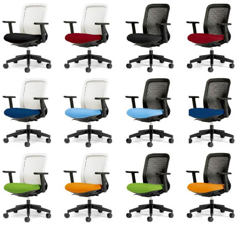 PLUS Tryチェア 背メッシュチェア 1脚分 【 ローバック 】 【 肘付き アジャスタブル肘 】 【 選べる背面カラー 全2色 】 【 選べる座面カラー 全6色 】 【 選べるキャスタータイプ 】 【 完成品渡し 】 事務用回転椅子 プラスチェア