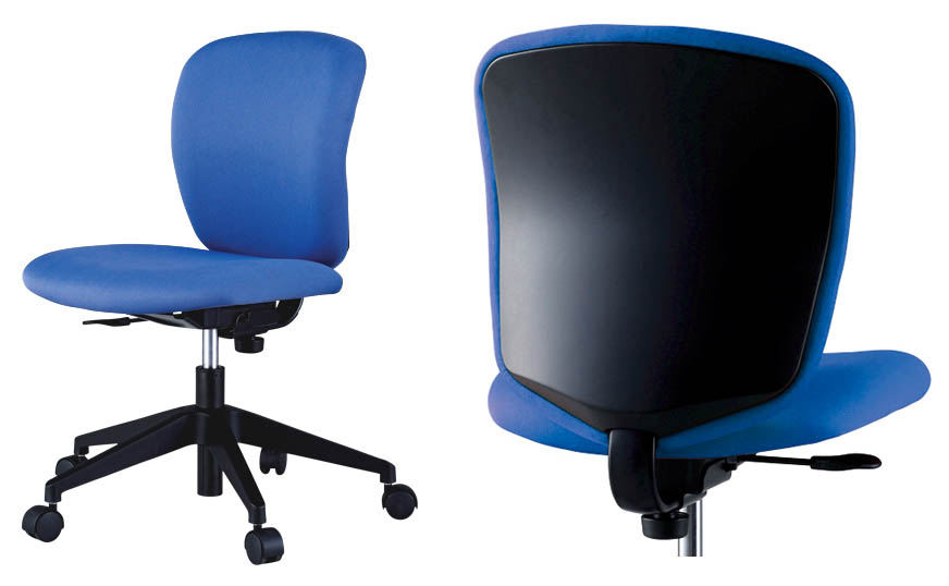 PLUS JOINTEX 事務イス CN-10Cチェア 1脚分 【 肘なし 】 【 背座の張地カラー ブルー色 布張り / 背裏は樹脂ブラック色 】 【 お客様組立商品 】 事務用回転椅子 ※有償にて完成品渡し可能 プラスジョインテックスチェア