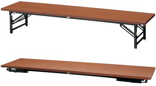 PLUS JOINTEX 脚折りたたみ式座卓 SA-MS1845Z WN 1台 【 ストッパー付き 安心設計 】 【 W1800×D450×H330 】 【 スライド式 】 完成品