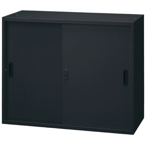 PLUS 壁面収納庫 Je引違い保管庫 1台分 JE-70S_BK 【 W900×D450×H720mm 】 【 鍵付き:2枚 】 【 ブラック色 】 【 上下・横連結可能 】 【 組立品 】 ※中下置タイプを下置で使用する場合、別売りオプションベース(JE-11)が必要