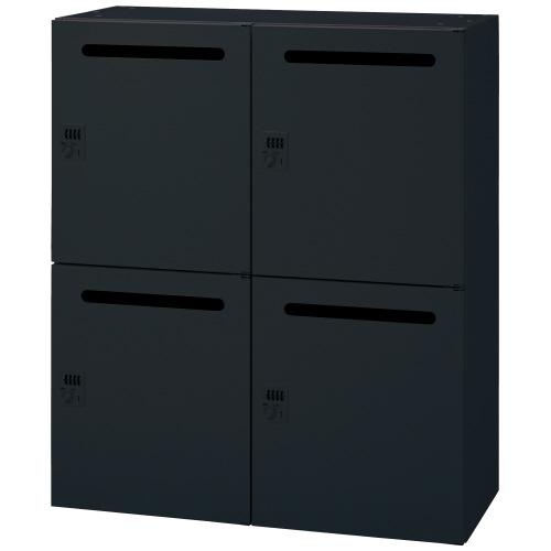 PLUS 壁面収納庫 Jeパーソナルロッカー 1台分 JE-105L-4MD_BK 【 W900×D450×H1050mm 】 【 鍵付き 】 【 ブラック色 】 【 庫内底部に配線用の充電穴有り 】 【 上下・横連結可能 】 【 組立品 】 ※下置で使用する場合、別売りオプションベース(JE-11)が必要