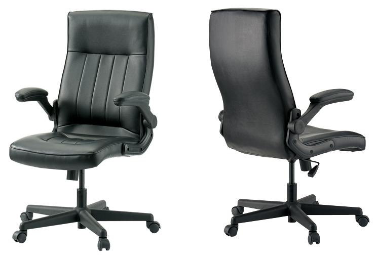 PLUS JOINTEX マネージャーチェア 1脚分 GSX700 【 可動肘 跳ね上げ式 】 【 PVCレザー張り ブラック色 】 【 組立品 】 事務用回転椅子 オフィスチェア デスクチェア  ※有料にて組立可能