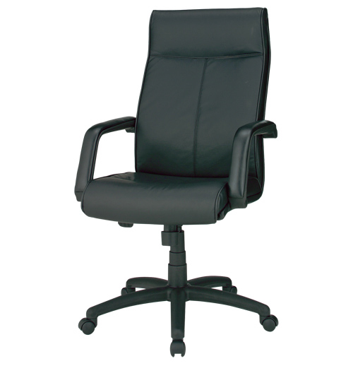 PLUS JOINTEX マネージャーチェア 1脚分 C102JA 【 ハイバック 固定肘 】 【 牛革張り+合皮張り ブラック色 】 【 組立品 】 【 選べるキャスタータイプ 】 事務用回転椅子 オフィスチェア デスクチェア ※ 有料で組立可能