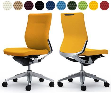 オカムラ コーラルチェア 【 ミドルバック 】 【 クッションタイプ 】 【 肘なし アームレス 】 【 選べる張地カラー 布張り 全10色 】 【 ポリッシュフレーム 】 【 完成品渡し 】 事務用回転椅子 オフィスチェア オフィスシーティング