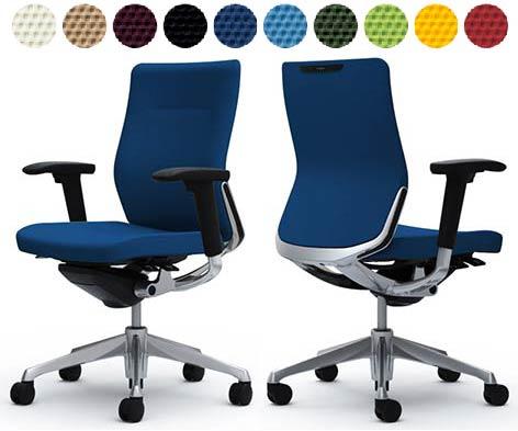 オカムラ コーラルチェア 【 ミドルバック 】 【 クッションタイプ 】 【 肘付き 可動肘 】 【 選べる張地カラー 布張り 全10色 】 【 ポリッシュフレーム 】 【 完成品渡し 】 事務用回転椅子 オフィスチェア オフィスシーティング