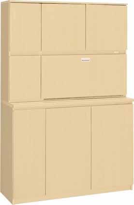 ビジネスキッチン 【 木製食器収納ユニット 】 W1200×D450×H1800 【 選べるカラー 全2色 】   木製だから、扉の開閉音が静か