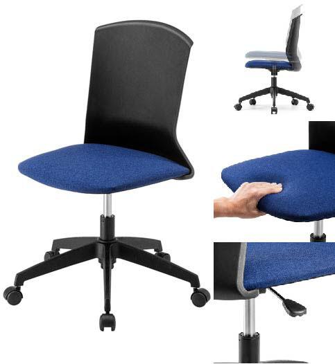 サンワサプライ オフィスチェア 1脚 【 肘なし アームレス 】 【 背もたれ樹脂ブラック色+座面布張りブルー色 】 様々な用途に使用できる、おしゃれなプラスチックシェルチェア