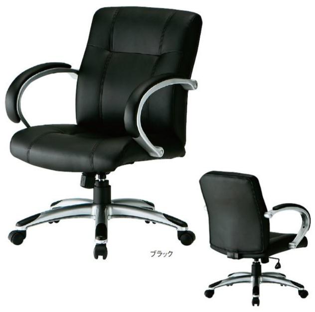 【 法人格限定 】 マネージャーチェア FTX-7V_Vチェア 【 ウレタンレザー張り 】 【 肘付き 】 【 選べる脚タイプ 】 【 ブラック色 】 事務用回転椅子 オフィスチェア TOKIOチェア