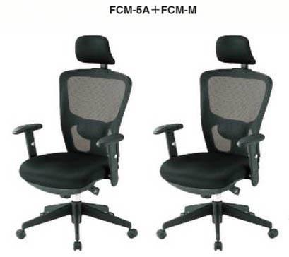 【 法人格限定 】 オフィスチェア FCM-5Aチェア+CM-M 可動肘+ヘッドレスト付き 2脚セット 【 ランバーサポート付 】 【 布張り ブラック色 】 事務用回転椅子 TOKIOチェア