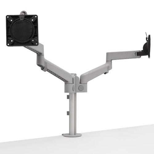 CBS Lima Dual Grey モニターアーム デュアル グレー 高さ:450mm アーム長:406mm VESA:75×75mm/100×100mm対応 対応重量:6.5kgまで 取付:クランプ式 ポストマウント方式 エルゴノミック 人間工学設計 お客様組立 各種液晶モニター用