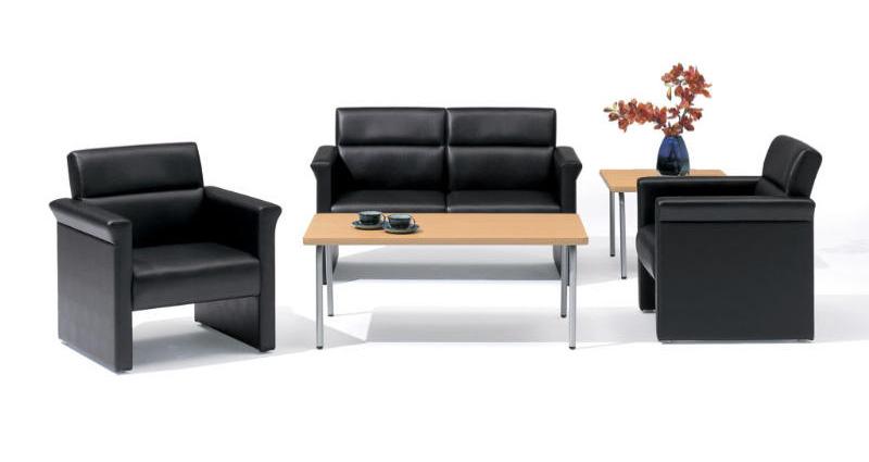 応接セット 3点セット 【 RP-5型 】 【 パネル脚 チェア 】  PVCレザー張り ブラック色タイプ  ( セット内容 計3点 = 長イス1点 + 両肘椅子2点 )