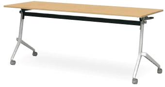 アイリスチトセ CFT89D-1545T フォールディングテーブル[1500W×450D×720Hmm][幕板なし][棚付][カバンフック付][アジャスター機能付キャスター付(ストッパー2ヶ所付)][アルミダイキャスト脚][選べる天板カラー全2色][お客様組立]オフィス,SOHO,セミナー向け