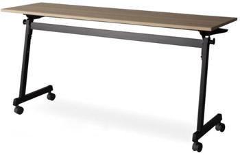 アイリスチトセ CFT89ZB-1860T フォールディングテーブル ブラックフレーム仕様[1800W×600D×720Hmm][棚付][カバンフック付][アジャスター機能付キャスター付(ストッパー2ヶ所付)][選べる天板カラー全2色][お客様組立]オフィス,SOHO,セミナー向け