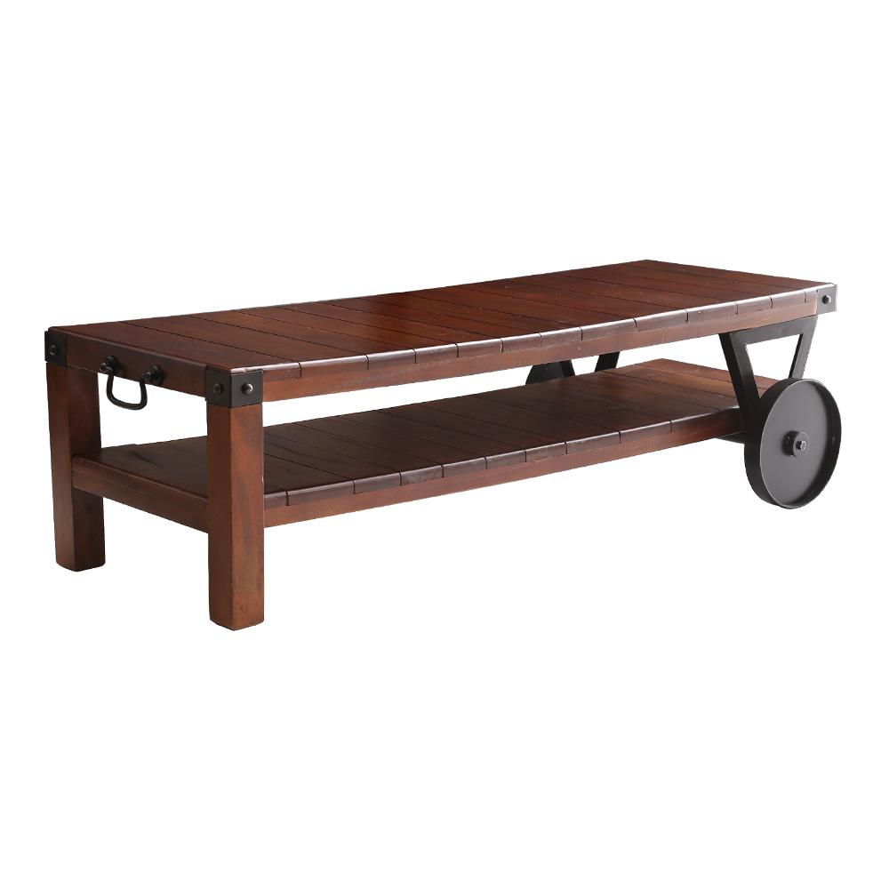 レトロな車輪付きテーブル【 W120×D50×H33cm 】 【 ブラウン色 】 【 取っ手付き 】 【 完成品 】 リビングテーブル センターテーブル 店舗ディスプレイなどに ベッロ Bello