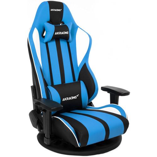 AKRACING(エーケーレーシング) ゲーミング座椅子 極坐(ぎょくざ)[ブルー色][可動肘付][リクライニング][座面回転][組立家具]オフィス,SOHO,パソコン,自宅,医療,福祉施設,公共施設,学校,学習塾,eスポーツ向け(Gyokuza V2 Gaming Floor Chair(Blue))