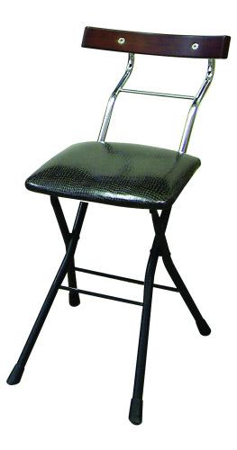 ルネセイコウ ロイドチェア LYD-48[リザードブラック/ブラック+ダークブラウン色][折りたたみ可能][完成品]オフィス,SOHO,美容室,飲食店,ご自宅向け