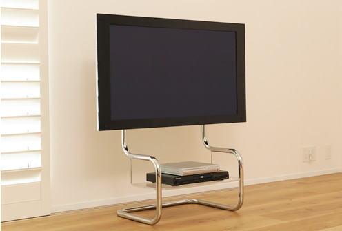 ザイトガイスト フロアスタンドメタルテレビスタンド FSM[Floor Stand Metal][ステンレススチールパイプ 研磨仕上げ][34~60型の薄型テレビ用][耐荷重:40kg][テーブル付][ケーブルはパイプ内配線可能][壁寄せ可能][お客様組立]オフィス,SOHO,リビング,パブリックスペース向け