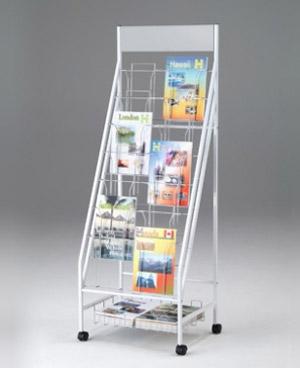 PB-H 2列型ボリュームタイプ パンフレットスタンド[A4版収納7段2列][14ポケット][ホワイト&シルバーメタリック色][お客様組立]店舗,旅行会社,展示会,スーパー,デパート向け