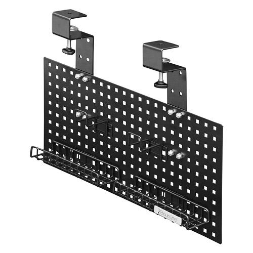 Bauhutte(R) ケーブルオーガナイザー BHP-C500-BK 幅500×奥行き77×高さ290mm(290~460mm)取付方法:クランプ パネル両面使用可能 パネル位置5段階調整 パンチングパネル フック×3つ付 バスケット×4つ付[お客様組立]各種デスク・テーブル用