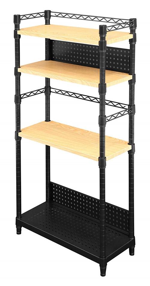 Bauhutte(R) デスクサイドラック BHS-600SM-WD[幅605×奥行き255×高さ1205mm][フレーム:マットブラック/棚板:ナチュラル木目][コの字バー付][背板:2枚付][高さ調整可能][木製天板付][パンチング棚板付][アジャスター付]デスク周りの収納向け