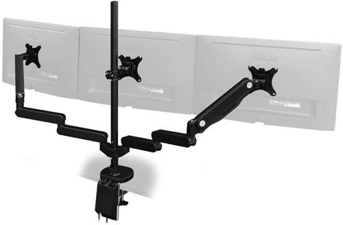 Bauhutte(R) ロングモニターアーム GSBMA-3GS-BK 対応デスク天板厚:クランプ式:20~120mm/グロメット式:20~100mm 取付可能モニター重量:2kg以上、9kg以下 ※1アームあたり クイックリリース USB3.0ポート付 7軸関節 ロングボール ケーブル収納可能 ガス圧式リフト