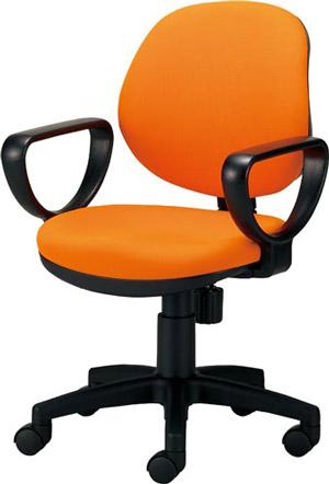 関家具 オフィスチェア カララ[Karara][背座:オレンジ色(布張り)][リング肘付][ローバック][ナイロンキャスター][座面昇降][リクライニング機構搭載][組立家具]オフス,SOHO,オフィス,SOHO,病院・福祉施設,ご自宅向け