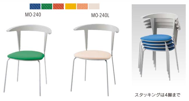 内田洋行 リフレッシュチェア 1脚分 MO-240 MO-240L 【 選べる座面カラー 全6色 】 【 完成品渡し 】 【 送料込み 】 マルチチェア 背もたれ付き