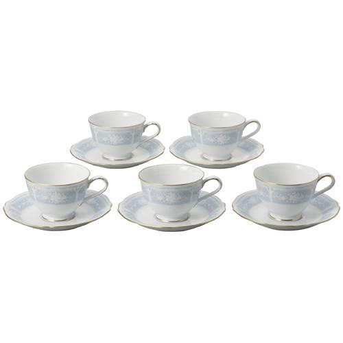 【J-275536】【日光陶器店】コーヒー碗皿 レースウッド 5客セット【キッチン】