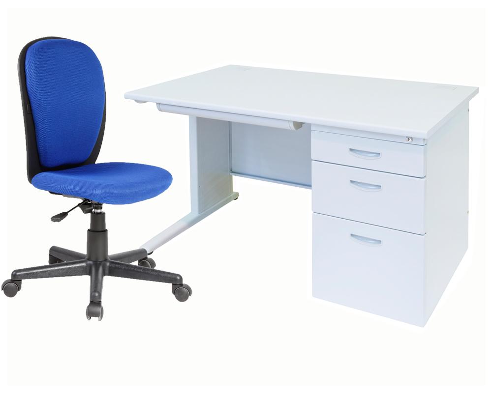 セットでお得 お中元 片袖デスク 格安 事務机 オフィスデスクと事務椅子のセット商品 片袖机W1200 OAチェアセット
