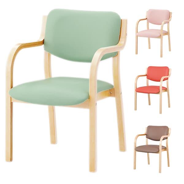 アイリスチトセ 食堂 ダイニングチェア リーズチェア 定番張地 ナチュラル W520×D567×H767(SH420)mm MN-V [福祉施設用家具 チェア 高齢者向け 老人ホーム 施設向け 施設用 介護 高齢者 食堂 椅子 いす スタッキングチェア オフィス家具]