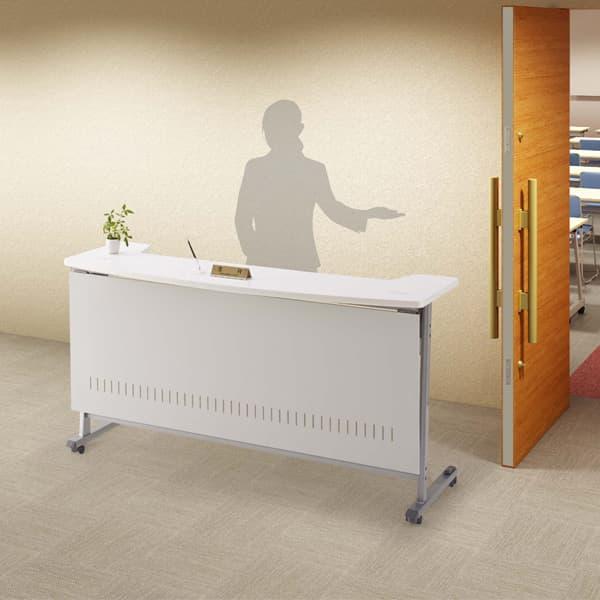 生興 移動式インフォメーションカウンター 天板ハネ上げ式 W1200×D680×H950 MCT-R12WW [テーブル 跳ね上げ式テーブル オフィス家具 オフィス用 オフィス用品]
