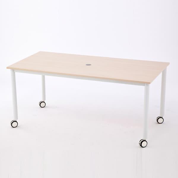 R・Fヤマカワ キャスターテーブル ホワイト脚 長方形 長型 W1600×D800 ナチュラル RFCTT-WL1680NA [ワーキングテーブル ワークテーブル テーブル ミーティングテーブル 長方形 オフィス家具 会議テーブル 会議用テーブル 会議机 オフィステーブル]