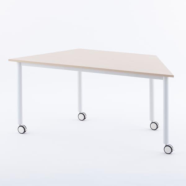 R・Fヤマカワ キャスターテーブル ホワイト脚 台形 ナチュラル RFCTT-WL8016DNA [ワーキングテーブル ワークテーブル テーブル ミーティングテーブル 長方形 オフィス家具 会議テーブル 会議用テーブル 会議机 オフィステーブル]