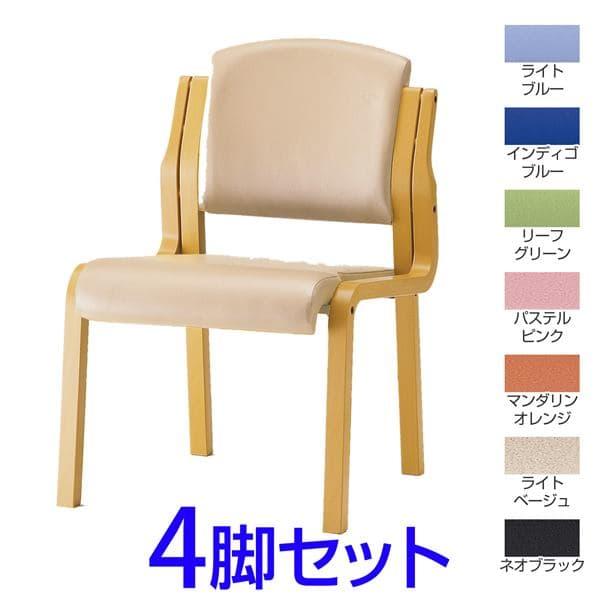 【受注生産品】TOKIO FKS-4木製チェア 肘無タイプ ビニールレザー 4脚セット W525×D580×H767(SH420)mm FKS-4L [ミーティングチェア イス 椅子 チェア スタッキングチェア 会議イス 公民館 業務用 会議用椅子 会議室 オフィス家具 オフィス用 オフィス用品]