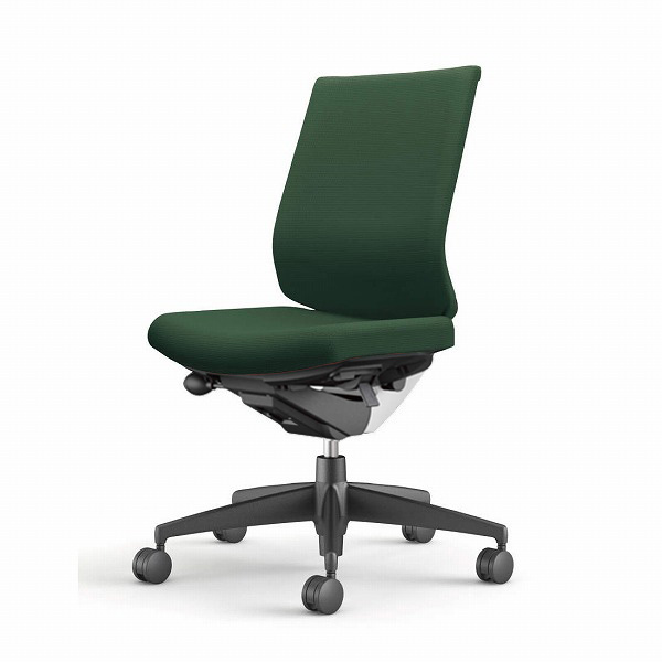 コクヨ(KOKUYO) オフィスチェア Wizard3(ウィザード3) ローバック ホワイトシェル 樹脂脚(ブラック) 布張 肘なし ディープグリーン CR-G3620E1G4Q6-W